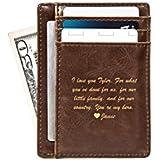 Swanky Badger Men's Slim Front Pocket Wallet, Leather Minimalist Thin Smart Cardholder Design, Brown, Message