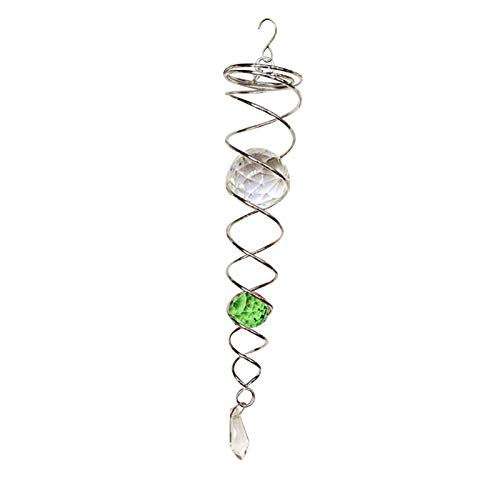 Wind Spinner Ball Spiral Tail Stainless Steel Indoor Outdoor Hanging Decor Sliver Wire Cyclone Yard Twister Decor with Swivel Hook Ornament (Green)
