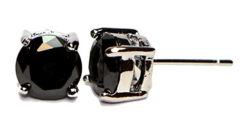 (Surgical Stainless Steel Studs Earrings Men, Women, Girls, Boys Round Basket Setting BLACK Cubic Zirconia Hypoallergenic Earrings WITH A FREE GIFT BLACK SQUARE PRINCESS CUT STUDS EARRINGS (4)