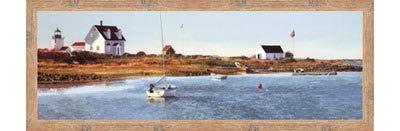 (Poster Palooza Framed Goat Island Light I- 36x12 Inches - Art Print (Natural Knotty Frame))