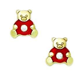 14k Ring Teddy Bear (14k Yellow Gold Enamel Screw-Back Red Teddy Bear Earrings - Measures 9x9mm)