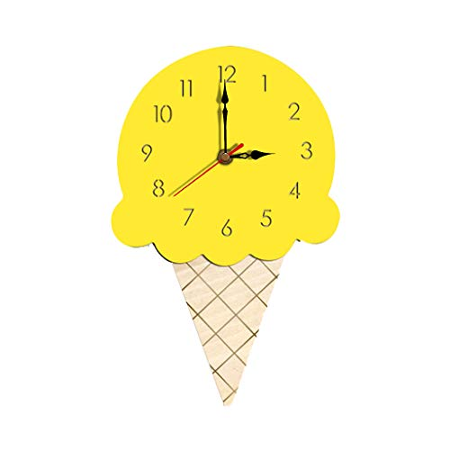 AnzzhonFashion Nordic Style Ice Cream Wall Clock Home Living Room Silent Wooden Clock(Yellow,28 x 16 cm)