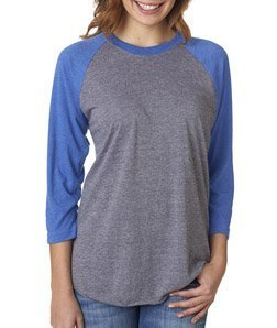 Next Level Women's Rib 3/4 Sleeve T-Shirt, Vintage Royal/Heather, XX-Large
