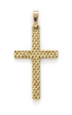 Maille creux 14 Carats Pendentif croix-JewelryWeb