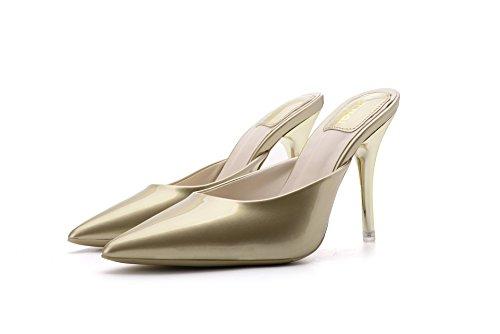 Femmes Or 7cm Talons 36 Pointus pour Sandales Pantoufles 1OwPPq
