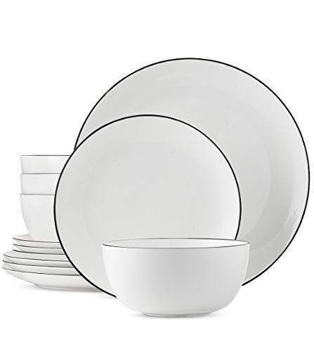 (Hotel Collection Coupe Black Line 12 Piece Dish Set)