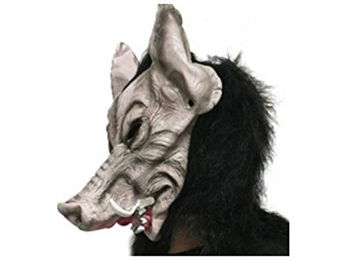 Yuchoi Funny Scary Latex Wild Boar Head Cover Tricky Animal Mask Halloween Props (Grey)