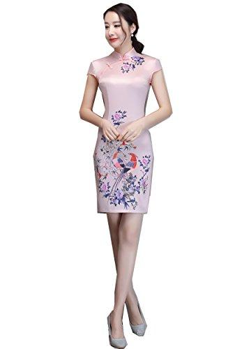 08fdc680c27 Shanghai Story Chinese Traditional Dress Short Cheongsam Faux Silk Qipao S  02 by Shanghai Story (