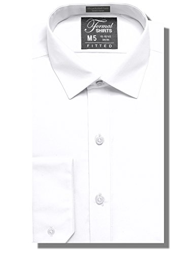 Formal Shirts Fitted Mens Solid Color Dress Shirt Or Tuxedo Shirt  100 Percent  Luxe Microfiber  Spread Collar White 17 17 5  Neck 34 35  Sleeve