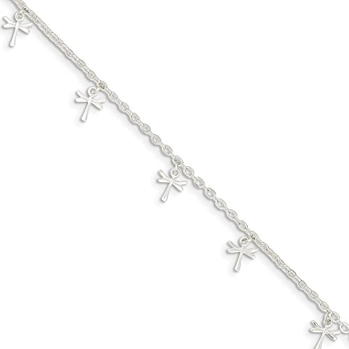 925 Sterling Silver Dragonfly 1 Inch Adjustable Chain Plus Size Extender Anklet Ankle Beach Bracelet Animal Fine Jewelry Gifts For Women For Her Dragonfly Italian Charm Bracelet
