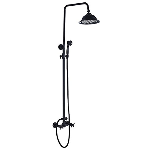 Votamuta Oil Rubbed Bronze Bathroom Luxury Rain Mixer Shower Faucet Set Wall Mounted Rainfall Shower Head System with Handheld (Black Shower)