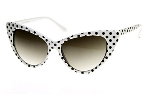 WebDeals - Cateye or High Pointed Eyeglasses or Sunglasses Vintage Inspired Fashion (White Polka Dot), Large