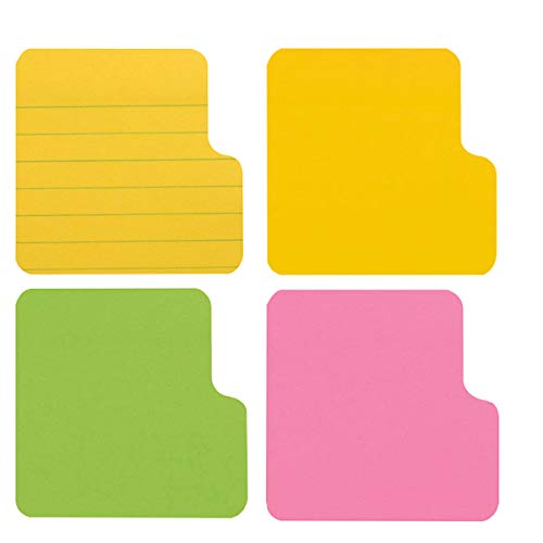 Tab Divider Notes, Divider Sticky Notes, 4 Assorted Neon Colors tabs-Bookmark, Prioritize and Set Goals with Color Coding