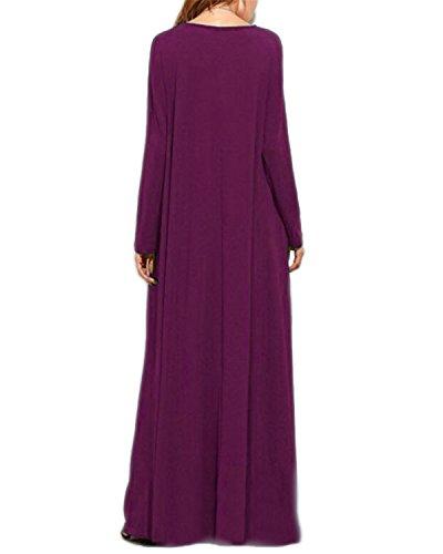 Elgante Robe Tunique Cocktail Femme Soire Taille Robe Longue Femme B de Violet Grand Kidsform qEBFRZ