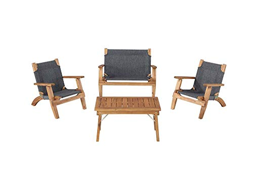 Linon 4-Pc Rosemary Kids Outdoor Set in Brown and Black