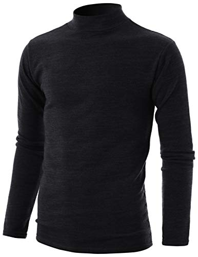 (GIVON Mens Slim Fit Long Sleeve Mock Neck Pullover Sweater/DCP324-BLACK-XL )