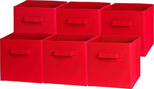 6 Pack – SimpleHouseware Foldable Cube Storage Bin, Red