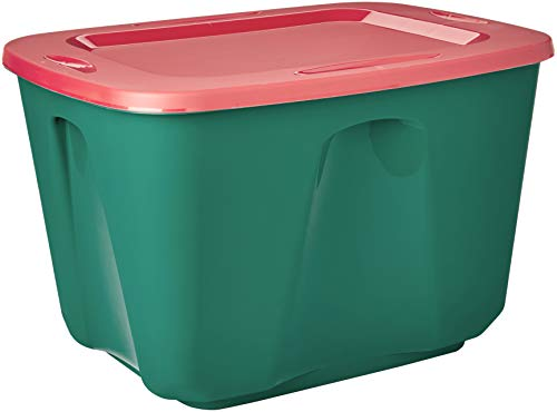 Homz Holiday Plastic Storage Tote Box, 18 Gallon, Green With Red Lid, Stackable, 8-Pack (Homz 18 Gallon Storage Tote Set Of 8)