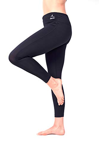 RUNSTYLE Women's Running/Workout/Yoga Pants/Leggings with Integrated Running Belt - Phone Pouch and Splash Water Resist Inner Pocket (Black, L)