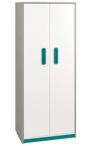 Kinderzimmer - Drehtürenschrank/Kleiderschrank Renton 02, Farbe: Platingrau/Weiß/Blaugrün - Abmessungen: 199 x 80 x 52 cm (H x B x T), mit 2 Türen und 7 Fächern