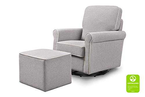 DaVinci Maya Upholstered Swivel Glider and Ottoman, Grey with Cream Piping (Best Pottery Barn Glider)