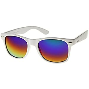 zeroUV - Hipster Fashion Flash Color Mirror Lens Horn Rimmed Style Sunglasses (White / Rainbow)