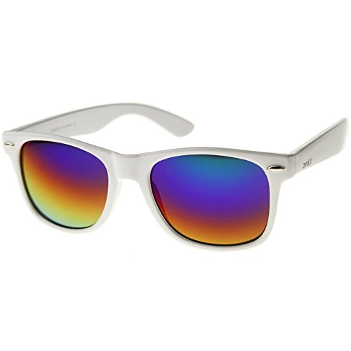 zeroUV - Hipster Fashion Flash Color Mirror Lens Horn Rimmed Style Sunglasses (White / - Color Wayfarer