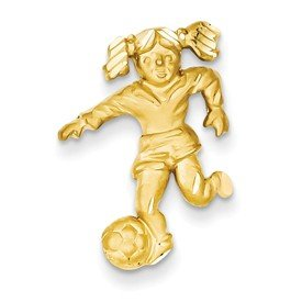 Jewels By Lux 14k Satin Diamond-cut Open-Backed Girl Soccer Player ()