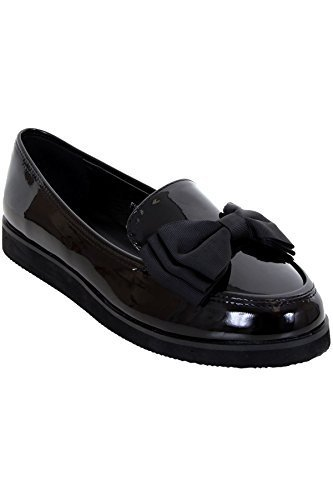 ce26a08e235 Ladies Loafers Chunky Sole Creeper School Dolly Work Bow Accent Patent  Shoes  Black
