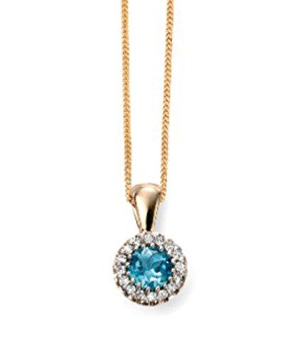 Jewellery World Bague en or jaune 9carats Diamant et Topaze Bleue Pendentif Grappe