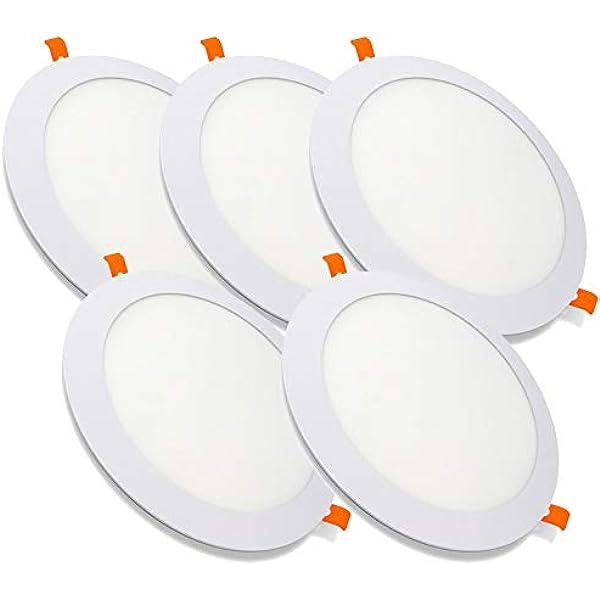 Pack de 5 Paneles LED Redondos ECOMAX · Downlight LED para Encastrar Extrafino de 20W con 2000 Lúmenes · 6000K Luz Blanca Fría · LED con 220mm de diámetro [Clase Energética A++]: