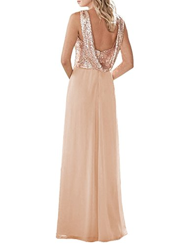 Dress Women's Chiffon Long Gown Sequined Bridesmaid Prom Rose Formal Gold Wedding Dressyu YpqHxTq