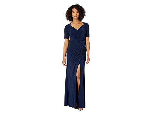 Adrianna Papell Women's Draped Matte Jersey Evening Gown Midnight 2