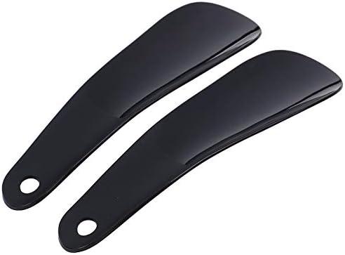 WHZJXB-ZYP 2個のプラスチック製シューホーンスプーン形の靴ホーンズ靴リフタープロフェッショナル靴べら柔軟な靴リフターを16センチメートル (色 : Black)