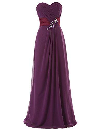 Dresstells Long Chiffon Dress with Beadings Bridesmaid Dresses Wedding Dress Grape Size14