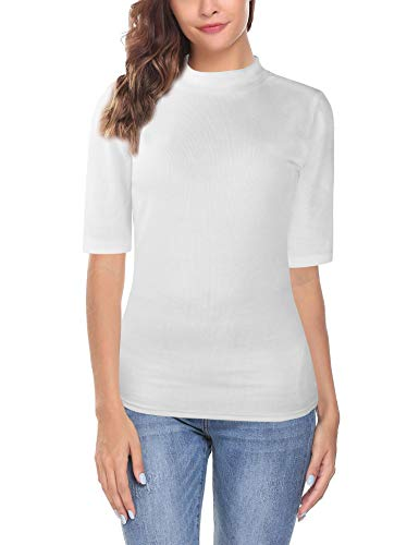 Oyamiki Womens Short Sleeve Slim Fit Mock Turtleneck Stretch Comfy Basic T Shirt Layer Top White S