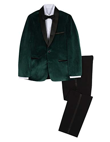 Sean John Boys' Big 4-Piece Formal Tuxedo Set, Dark Green, 18 -