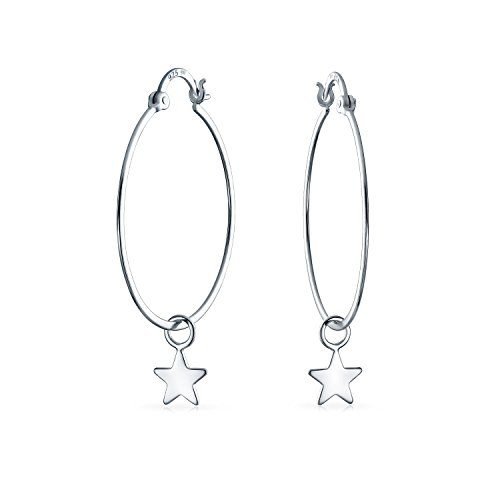 Bling Jewelry .925 Silver Medium Round Hoop Dangle Star Earrings (Design Stars Shimmering Snap)