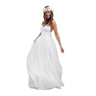 Irenwedding Women's Spaghetti Ruched Empire Waist Open Back Beach Wedding Dress White US8