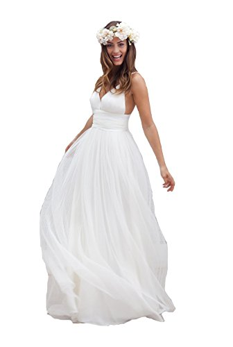 Irenwedding Women's Spaghetti Ruched Empire Waist Open Back Beach Wedding Dress White US16 ()