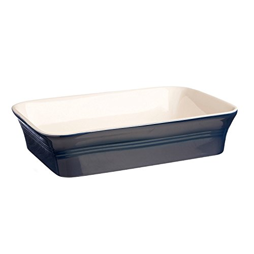 Mason Cash Classic Kitchen Rectangular Baker, Durable Stoneware Goes from Oven to Table, Dishwasher and Freezer Safe, 12-1/4 X 8-1/4 X 2-3/4, Navy Blue