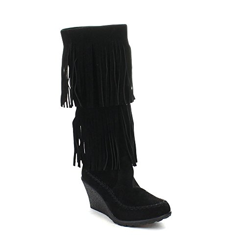 Beston BERNICE-03 Womens Fashion Two Layers Fringe Moccasin Style Boots, Color:BLACK, Size:5.5