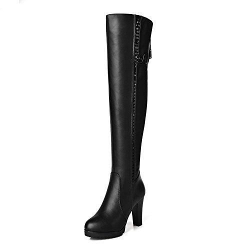 Boots zippers Allhqfashion Solid Closed Materials High Women's Top Toe Black Blend afwqaFC