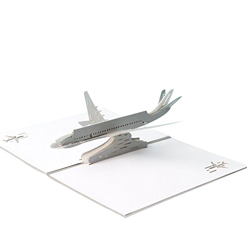 HeartMoon 3D Card Airliner Plane Birthday Mother's Day card for Him Husband Boyfriend Wife Thank You Congratulations Laser Cut 3D Love Birthday card ( Silver (Airliner Plane)