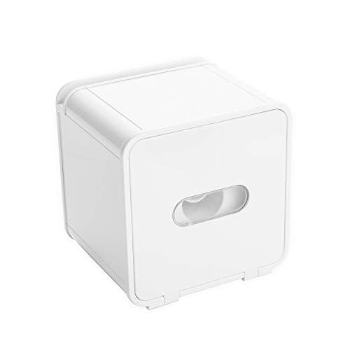 KaryHome Waterproof All Covered Toilet Paper Holder Box,Wall Mounted Bathroom Paper Roll Holder,Adhesive Tissue Box with Shelves Storage,White