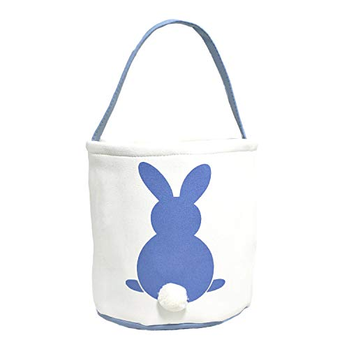 MONOBLANKS Easter Bunny Basket Bags for Kids Canvas Cotton Carrying Gift and Eggs Hunt Bag,Fluffy Tails Printed Rabbit Canvas Toys Bucket Tote (Blue)