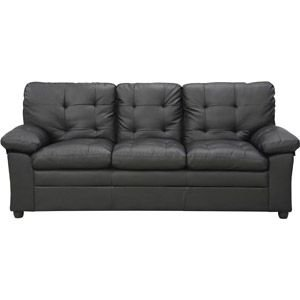 Modern Black Buchannan Faux Leather Sofa Living Room Furniture