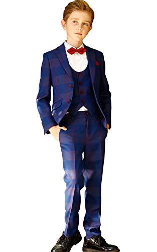 ELPA ELPA Children Boys Suits London Boys 6 Piece Casual Classic Plaid Suits(Royal Blue,14)