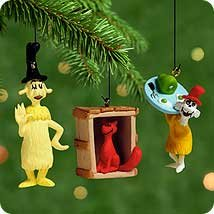 QXM6034 Green Eggs and Ham Dr. Seuss 3 piece miniature set 2000 Hallmark Keepsake Ornament ()