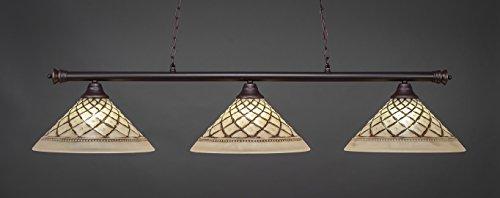 Toltec Lighting 373-DG-718 Oxford - Three Light Billiard, Dark Granite Finish with Chocolate Icing Glass (Lighting Toltec Billiard)